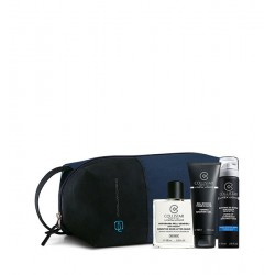 KIT DOPOBARBA PELLI SENSIBILI + Schiuma da Barba 75 ml + Gel Doccia 100 ml + Travel Bag Piquadro Blu
