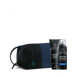 KIT GEL DOCCIA TONIFICANTE + Schiuma da Barba Pelli Sensibili 200 ml + Travel Bag Piquadro Blu